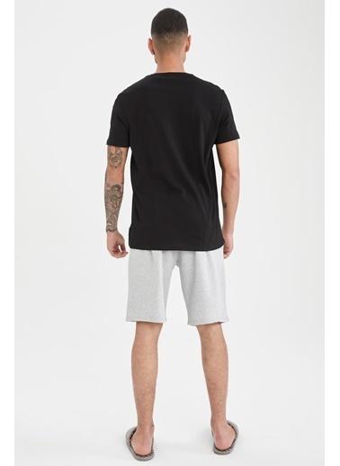 DeFacto NBA Lisanslı Los Angeles Clippers Baskılı Slim Fit Pijama Takımı Siyah